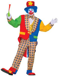 Adult Clown Costume. Clowns are both scary and funny at the same time.