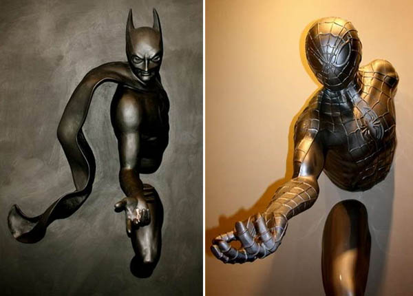 superhero sculptures by Adrian Tranquilli