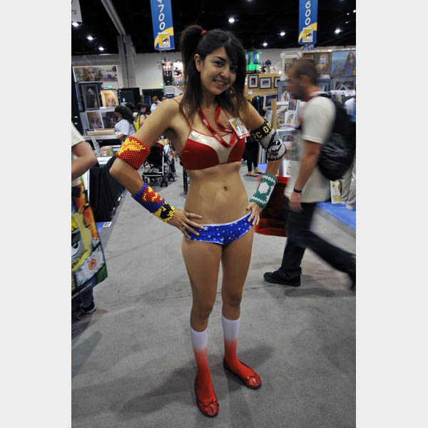 A bikini and red socks, hot sure. But a good Wonder Woman costume, ...